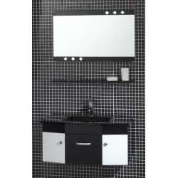 Комплект Maritsa PVC - шкаф 80 см стъклена мивка, огледало, черно-бял gds_pvc_ICP125