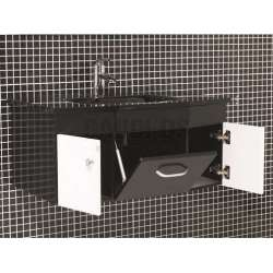 Комплект Maritsa PVC - шкаф 80 см стъклена мивка, огледало, черно-бял 2