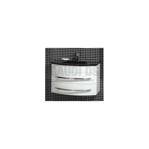 Долен PVC шкаф 80 см бял със стъклена черна мивка gds_pvc_ICP0853B