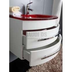 Долен PVC шкаф 80 см бял със стъклена червена мивка 1