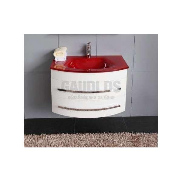 Долен PVC шкаф 80 см бял със стъклена червена мивка gds_pvc_ICP0853R