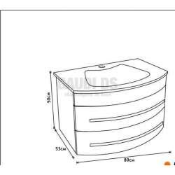 Комплект PVC шкаф 80 см бял със стъклена бяла мивка, огледало 1