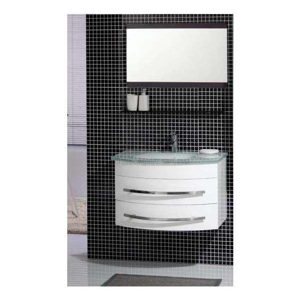 Комплект PVC шкаф 80 см бял със стъклена бяла мивка, огледало gds_pvc_ICP0853W