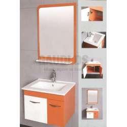 Комплект PVC шкаф 60 см с порцеланова мивка, оранжево-бял gds_pvc_ICP6046OR
