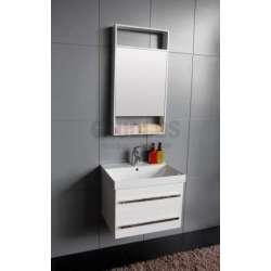 Комплект PVC шкаф 60 см с порцеланова мивка, горен огледален шкаф 1