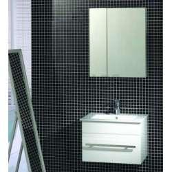 Комплект PVC шкаф 61 см с порцеланова мивка, огледален горен, бял gds_pvc_ICP6147