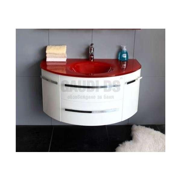 Долен PVC шкаф 100 см бял с червена стъклена мивка gds_pvc_ICP11053R