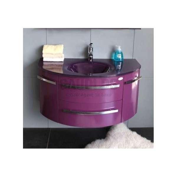 Долен PVC шкаф 100 см лилав с лилава стъклена мивка gds_pvc_ICP11053P