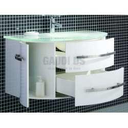 Долен PVC шкаф 100 см бял с бяла стъклена мивка 1