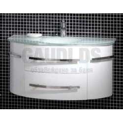 Долен PVC шкаф 100 см бял с бяла стъклена мивка gds_pvc_ICP11053W
