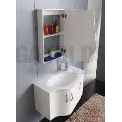 Комплект PVC шкаф 90 см с порцеланова мивка, огледален горен, бял 1