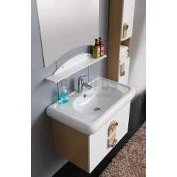 Комплект PVC шкаф 82 см, порцеланова мивка, огледало, колона, бяло-бежави 1