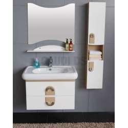 Комплект PVC шкаф 82 см, порцеланова мивка, огледало, колона, бяло-бежави gds_pvc_ICP8249