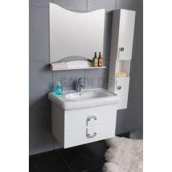 Комплект PVC шкаф 82 см, порцеланова мивка, огледало, колона, бял gds_pvc_ICP8249W
