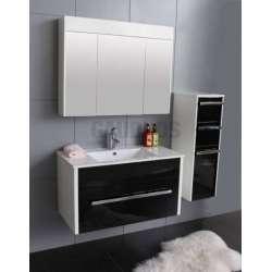 Комплект PVC шкаф 90 см, порцеланова мивка, огледален горен, колона, черно-бял gds_pvc_ICP904650