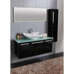 Комплект PVC шкаф 120см, стъклен плот, порцеланова мивка, огледало, колона, черен gds_pvc_ICP12045B