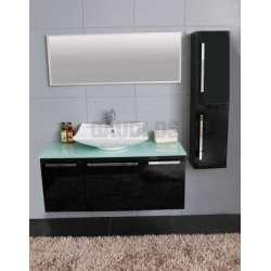 Комплект PVC шкаф 120см, стъклен плот, порцеланова мивка, огледало, колона, черен 2