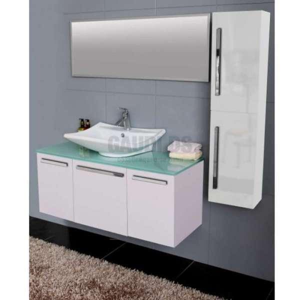 Комплект PVC шкаф 120см, стъклен плот, порцеланова мивка, огледало, колона, бял gds_pvc_ICP12045W