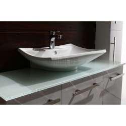 Комплект PVC шкаф 120см, стъклен плот, порцеланова мивка, огледало, колона, бял 2