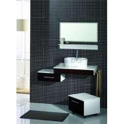 Комплект PVC шкаф 79 см, подвижен шкаф, мивка, огледало бяло-кафяв gds_pvc_ICP7950NEW