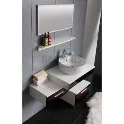 Комплект PVC шкаф 79 см, подвижен шкаф, мивка, огледало бяло-кафяв 2