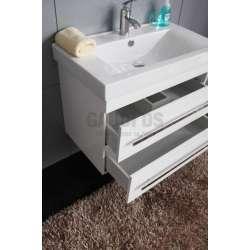 Долен PVC шкаф 80 см бял с порцеланова мивка 2