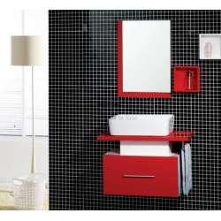 Комплект PVC шкаф 70 см, мивка, огледало, полици, бяло и червено gds_pvc_ICP7035