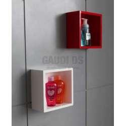 Комплект PVC шкаф 70 см, мивка, огледало, полици, бяло и червено 2