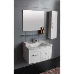 Комплект PVC шкаф 73см, полимермраморна мивка, огледало, колона, бял gds_pvc_ICP7351W