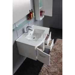 Комплект PVC шкаф 73см, полимермраморна мивка, огледало, колона, бял 2