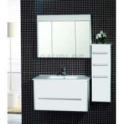 Комплект PVC шкаф 90 см, порцеланова мивка, огледален горен, колона, бял gds_pvc_ICP904650W