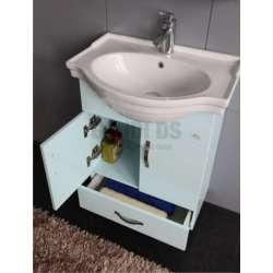 Долен PVC шкаф 50 см и порцеланова мивка, небесно син 1