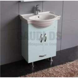 Долен PVC шкаф 60 см и порцеланова мивка, небесно син gds_pvc_ICP060VSB