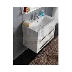 Долен конзолен PVC шкаф 80 см и порцеланова мивка, бял 2