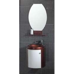 Комплект PVC шкаф 47 см, мивка, огледало, бяло и кафяво gds_pvc_ICP4750