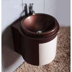 Комплект PVC шкаф 47 см, мивка, огледало, бяло и кафяво 2