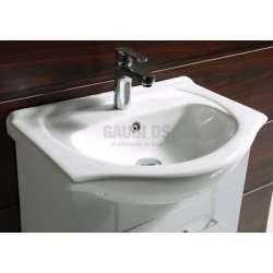 Долен PVC шкаф Capri 50 см и порцеланова мивка, бял 2