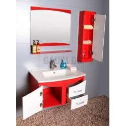 Комплект PVC шкаф, мивка, огледало, колона, червено-бял 1