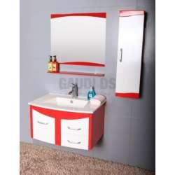 Комплект PVC шкаф, мивка, огледало, колона, червено-бял gds_pvc_ICP7351R