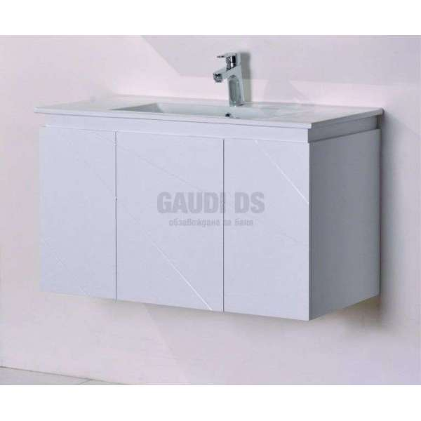 Долен конзолен PVC шкаф 91см, порцеланова мивка, бял gds_pvc_ICP9046