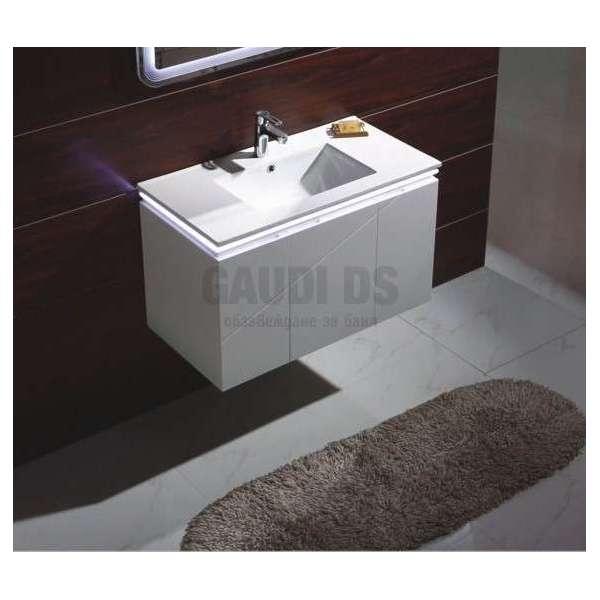 Долен конзолен PVC шкаф 91см, порцеланова мивка, Led осветление gds_pvc_ICP9046LED