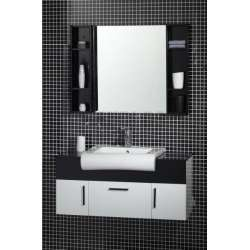Комплект PVC шкаф 100 см с мивка и горен модул, бяло-черен gds_pvc_ICP10049