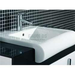 Комплект PVC шкаф 100 см с мивка и горен модул, бяло-черен 2