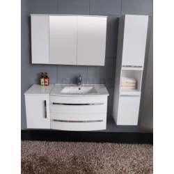 Комплект PVC шкаф 111см с мивка, горен шкаф, колона, бял 1