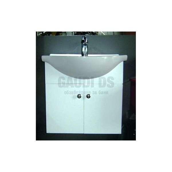 Сглобяем долен PVC шкаф 55 см с порцеланова мивка, конзолен, бял gds_pvc_ICP5540