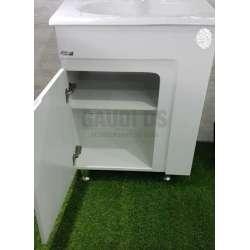 Сглобяем долен PVC шкаф 60 см и порцеланова мивка, бял 2