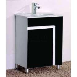 Сглобяем долен PVC шкаф 60 см и порцеланова мивка, черен gds_pvc_ICP6085B