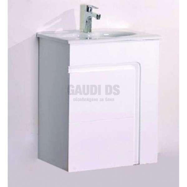 Сглобяем долен PVC шкаф 60 см с порцеланова мивка, конзолен,бял gds_pvc_ICP6055W