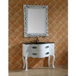 Ретро комплект PVC шкаф 100 см с черна стъклена мивка, огледало gds_pvc_ICP11093B&W