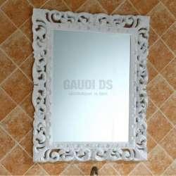 Ретро комплект PVC шкаф 100 см с бяла стъклена мивка, огледало 2